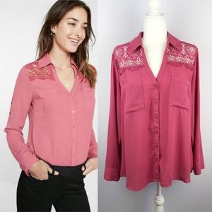 Express | Lace Portofino Button Down Blouse